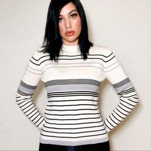 Sweaters - 60s MOD Winter Sweater ❄️ Striped Crewneck Knit SM